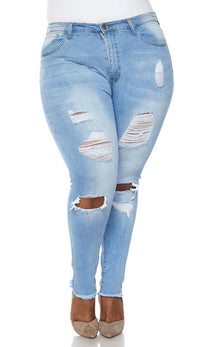 Plus Size High Waisted Distressed Jeans in Light Wash - SohoGirl.com