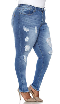 Plus Size High Waisted Distressed Jeans in Dark Wash - SohoGirl.com