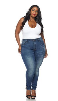 Plus Size Classic High Waisted Skinny Jeans in Dark Denim