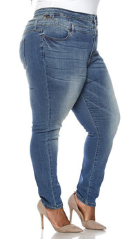 Plus Size 3-Button High Waisted Denim Skinny Jeans - SohoGirl.com