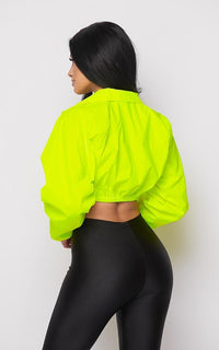 Neon Green Reflective Cropped Windbreaker Jacket