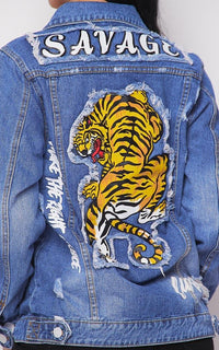 Savage Tiger Patch Denim Jacket