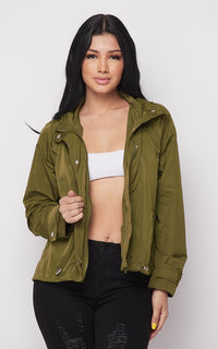 Classic Snap Button Windbreaker Jacket - Olive - SohoGirl.com