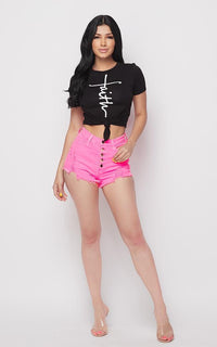 Button Fly Distressed Denim Shorts - Neon Pink