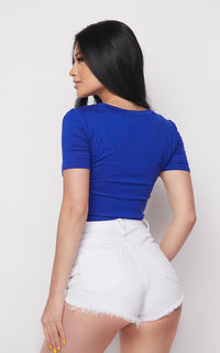 Girl Power Tie Front Short Sleeve T-shirt - Royal Blue - SohoGirl.com