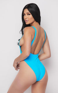 Open Side High Cut One Piece Swimsuit - Neon Blue