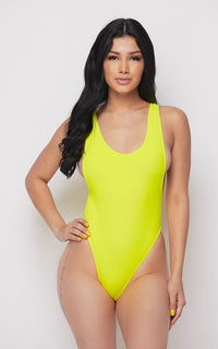 Open Side High Cut One Piece Swimsuit - Yellow