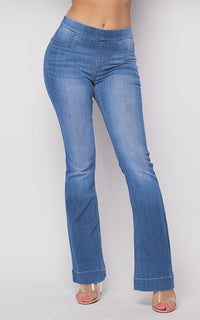 Mid Rise Denim Bootcut Pants in Light Blue