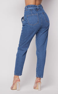 Belted Front Tie Denim Mom Jeans in Classic Denim