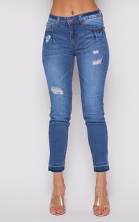 Super Stretch Mid Rise Distressed Jeans - Medium Wash