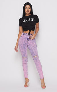 Acid Wash Slightly Ripped Stretchy Skinny Jeans - Lavender - SohoGirl.com
