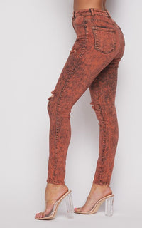 Acid Wash Slightly Ripped Stretchy Skinny Jeans - Orange