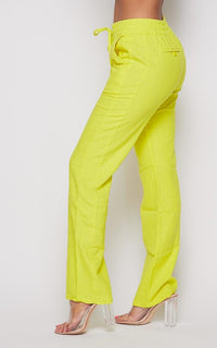 Linen Gold Drawstring Wide Leg Pants - Yellow - SohoGirl.com