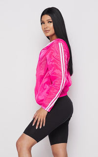 Translucent Two Stripe Zip-Up Jacket- Neon Pink