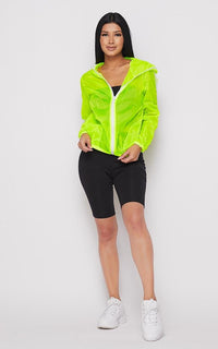 Translucent Two Stripe Zip-Up Jacket- Neon Green - SohoGirl.com