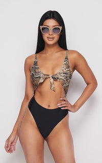 Snakeskin Print Cut-Out One Piece Swimsuit - SohoGirl.com