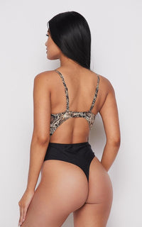 Snakeskin Print Cut-Out One Piece Swimsuit