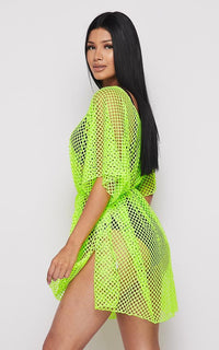 Fishnet Waist Tie Cover Up Dress - Neon Green