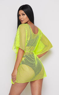 Fishnet Waist Tie Cover Up Dress - Neon Yellow