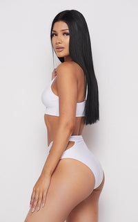 Cut-Out Two Piece Bikini Sport Set - White - SohoGirl.com