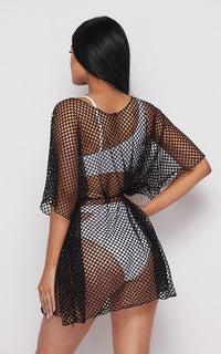 Fishnet Waist Tie Cover Up Dress - Black