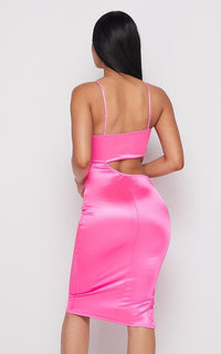 Side Cut-Out Silky Satin Midi Dress - Neon Pink