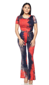 Two Piece Tie Dye Front Tie Set - Red - SohoGirl.com
