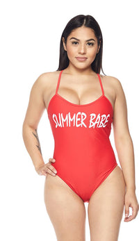 Summer Babe Criss Cross Swimsuit in Red - SohoGirl.com