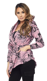 Pink Camouflage Draped Hooded Jacket - SohoGirl.com