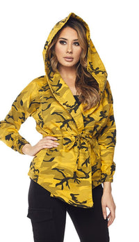 Yellow Camouflage Draped Hooded Jacket