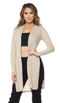 Beige Long Ribbed Side Slit Cardigan (S-3XL) - SohoGirl.com