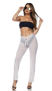 White Front Tie Mesh Cover Up Pants - SohoGirl.com