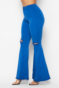 Vibrant Ripped Knee Super Flare Jeans - Royal Blue