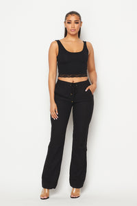 Linen Gold Drawstring Wide Leg Pants - Black
