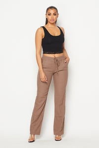 Linen Gold Drawstring Wide Leg Pants - Mocha