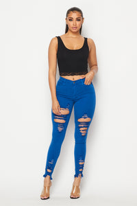 Vibrant High Waist Distressed Jeans - Royal Blue