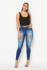 Back Ladder Cut Out High Waisted Skinny Jeans - Medium Wash