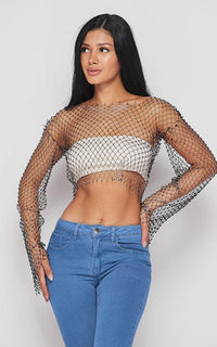 Rhinestone Fishnet Long Sleeve Cover Up Top - Black