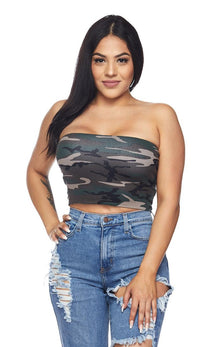Camouflage Cropped Tube Top - SohoGirl.com