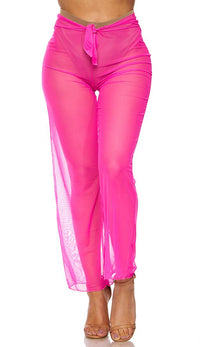 Hot Pink Front Tie Mesh Cover Up Pants - SohoGirl.com