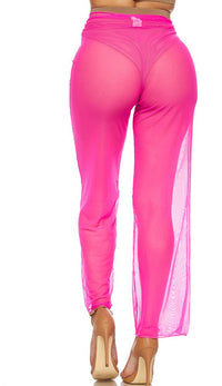 Hot Pink Front Tie Mesh Cover Up Pants