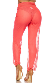 Coral Front Tie Mesh Cover Up Pants