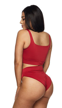 Red Full Coverage High Waisted Bikini - SohoGirl.com