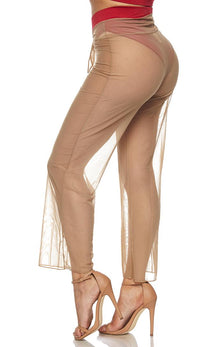 Beige Front Tie Mesh Cover Up Pants - SohoGirl.com