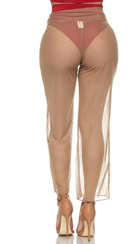 Beige Front Tie Mesh Cover Up Pants