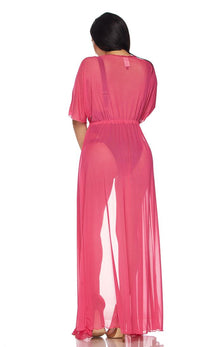 Hot Pink Sheer Mesh Maxi Duster (Plus Sizes Available) - SohoGirl.com