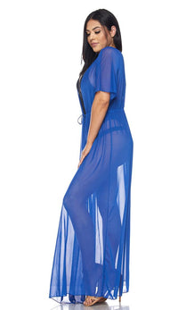 Royal Blue Sheer Mesh Maxi Duster (Plus Sizes Available) - SohoGirl.com