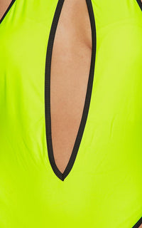 Contrast Trim Cut Out Swimsuit - Neon Yellow-Black