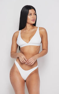 Seamless Triangle Top and Bikini Thong Set - White - SohoGirl.com