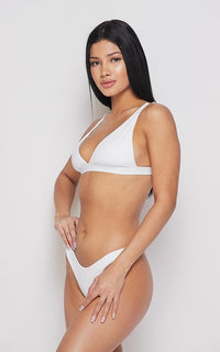 Seamless Triangle Top and Bikini Thong Set - White